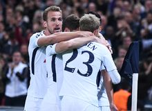 Tottenham goal celebration. Football players pictured during the UEFA Champions League Group H game between Tottenham Hotspur and Borussia Dortmund on September Stock Photography
