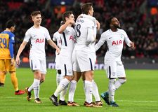 Tottenham goal celebration. Football players pictured during the UEFA Champions League Group H game between Tottenham Hotspur and APOEL FC on December 6, 2017 at Royalty Free Stock Photography