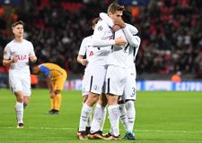 Tottenham goal celebration. Football players pictured during the UEFA Champions League Group H game between Tottenham Hotspur and APOEL FC on December 6, 2017 at Royalty Free Stock Photo