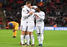 Tottenham goal celebration. Football players pictured during the UEFA Champions League Group H game between Tottenham Hotspur and APOEL FC on December 6, 2017 at Stock Photography