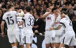 Tottenham goal celebration. Players pictured during the UEFA Champions League Round of 16 game between Tottenham Hotspur and Juventus Torino held on March 7 Royalty Free Stock Photography