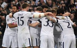 Tottenham goal celebration. Players pictured during the UEFA Champions League Round of 16 game between Tottenham Hotspur and Juventus Torino held on March 7 Royalty Free Stock Photos