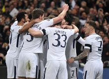 Tottenham goal celebration. Players pictured during the UEFA Champions League Round of 16 game between Tottenham Hotspur and Juventus Torino held on March 7 Royalty Free Stock Image