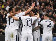 Tottenham goal celebration. Players pictured during the UEFA Champions League Round of 16 game between Tottenham Hotspur and Juventus Torino held on March 7 Royalty Free Stock Photo