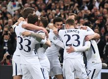 Tottenham goal celebration. Players pictured during the UEFA Champions League Round of 16 game between Tottenham Hotspur and Juventus Torino held on March 7 Stock Image