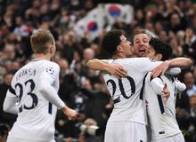 Tottenham goal celebration. Players pictured during the UEFA Champions League Round of 16 game between Tottenham Hotspur and Juventus Torino held on March 7 Stock Photos