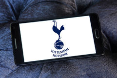 Tottenham hotspur football club logo. Logo of english football club tottenham hotspur on samsung mobile Stock Photo