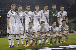 Tottenham Hotspur line up. Football players pictured during UEFA Europa League round of 16 game between Tottenham Hotspur and Borussia Dortmund on March 17, 2016 Stock Images