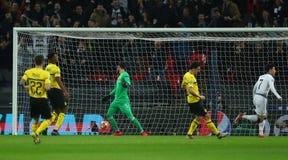 Tottenham Hotspur v Borussia Dortmund - UEFA Champions League Round of 16: First Leg. LONDON, ENGLAND - FEBRUARY 13 2019: Son Heung-Min of Tottenham celebrates stock image