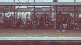 Tottenham instämmer stationen i London, tappningblick royaltyfri foto