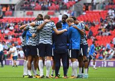 Tottenham players together. Football players pictured during preseason friendly game game between Tottenham Hotspur and Juventus Torino on August 28, 5 at Stock Photos