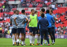 Tottenham players together. Football players pictured during preseason friendly game game between Tottenham Hotspur and Juventus Torino on August 28, 5 at Royalty Free Stock Photography