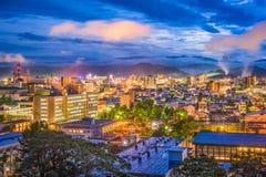Tottori, Japan Skyline. Tottori, Japan town skyline at twilight stock images
