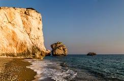 Tou Romiou της Petra ή βράχος Aphrodite, Κύπρος Στοκ Εικόνες