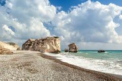 Tou Romiou της Petra βράχου και παραλιών Aphrodite Στοκ φωτογραφία με δικαίωμα ελεύθερης χρήσης
