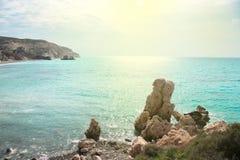Tou Romiou, τόπος γεννήσεως της Petra Aphrodite Πάφος, Κύπρος Στοκ εικόνα με δικαίωμα ελεύθερης χρήσης