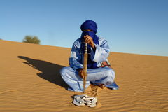 Touareg. Man of Tuareg in desert Stock Photo