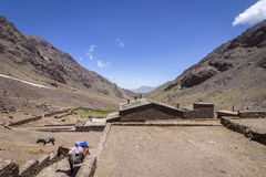 Toubkal national park, the peak whit 4,167m is the highest in the Atlas mountains and North Africa Stock Photos