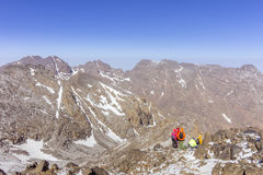 Toubkal national park, the peak whit 4,167m is the highest in the Atlas mountains and North Africa. Trekkers trail view. Morocco royalty free stock photography
