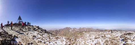 Toubkal national park, the peak whit 4,167m is the highest in the Atlas mountains and North Africa. Trekking trail panoramic view. Morocco stock photos