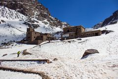 Toubkal national park, Refuge Toubkal, start point for hike to Toubkal Stock Photography
