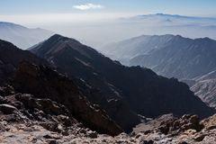 Toubkal and other highest mountain peaks of High Atlas mountains in Toubkal national park, Morocco Stock Photos