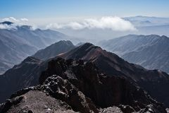 Toubkal and other highest mountain peaks of High Atlas mountains in Toubkal national park, Morocco Royalty Free Stock Photography
