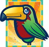 Toucan. A green and red tropical parrot Stock Photo