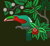 Toucan. In the forest - illustration stock illustration