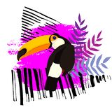 Toucan on a abstract background vector illustration