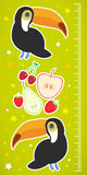 Toucan Bird and the apple pear strawberry cherry on green background Children height meter wall sticker. Vector Stock Photo