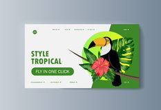 Toucan bird sits on flower tree in tropical forest stock illustration