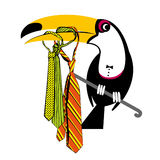 Toucan with colorful ties Royalty Free Stock Photos