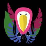 Toucan drôle et mignon de bande dessinée avec des feuilles et le plumeria de monstera Composition avec les oiseaux et les usines  illustration libre de droits
