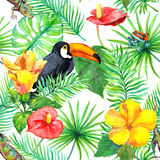 Toucan, gecko, tropical leaves, exotic flowers. Seamless jungle pattern. Watercolor Royalty Free Stock Photos
