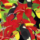 Toucan hibiscus rosa tropical seamless pattern. Illustration bird Toucan hibiscus rosa tropical seamless pattern green hand draw line seamless pattern Stock Photo