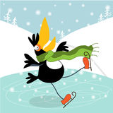 Toucan learn to skate. Christmas card with cute Toucan on an ice rink. Vector illustration Stock Photos