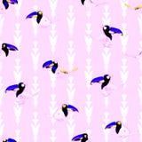 Toucan mönstrar Tropisk sömlös fågeltapet Royaltyfri Bild
