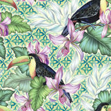 Toucan and orchids, tropical seamless patern. Bouquet of exotic flower with a small colorful tropical bird. Amazing detailed botanical illustration. Hyper real Stock Photos