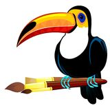 Toucan and paintbrushes Royalty Free Stock Photography