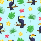 Toucan pattern. Exotic tropical texture for print, banners, poster template. Tropical seamless pattern. Cartoon doodle stock illustration