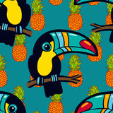 Toucan and pineapple.. Tropical Green seamless pattern. Royalty Free Stock Photo