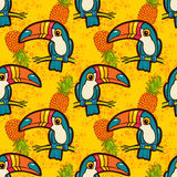 Toucan and pineapple.. Tropical Green seamless pattern. Stock Images
