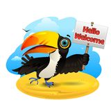 Toucan with a sign Royalty Free Stock Images