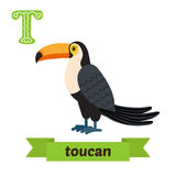 Toucan. T letter. Cute children animal alphabet in vector. Funny Stock Photo