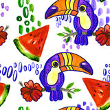 Toucan watermelon seamless pattern. Toucan and Hibiscus. Tropical Green seamless pattern.  ornament toucan in cartoon style. American bill, ramphastida, toucan Royalty Free Stock Image