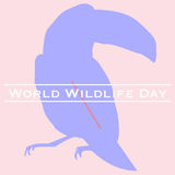 Toucan  World Wildlife Day. Vector illustration of World Wildlife Day with toucan in pastels. March 3. Can be used for your design, card, banner, poster and Stock Image