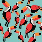 Toucans on blue background. royalty free illustration