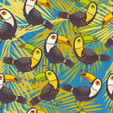 Toucans and palm leaves Royalty Free Stock Photography