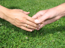 Touch. Man and woman hands couple, close up Stock Image